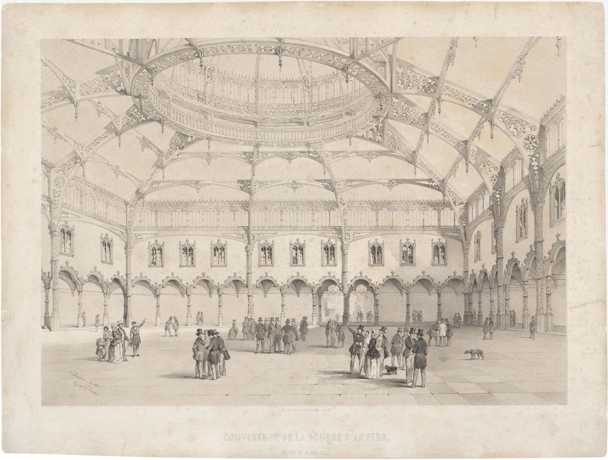 tekening opening van de beurs in Antwerpen